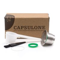 Square Hole Reusable Coffee Filter Capsules Cup Dripper Stainless Steel Nespresso Refillable Capsule Get Spoon Brush