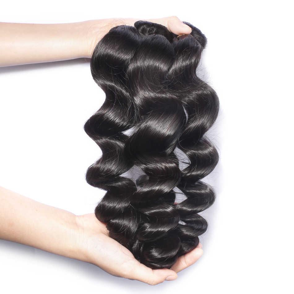 Wigirl onda suelta 8-28 30 pulgadas 3 4 paquetes de cabello humano brasileño con cierre de encaje 4x4 extensión de cabello humano tejido