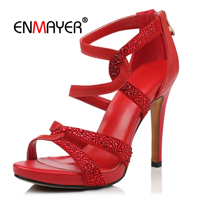 ENMAYER   Genuine Leather  Basic  Casual Women High Heel Sandals  Zip  Zapatos De Mujer  Womans Shoes Size 34-39 LY748ENMAYER   Genuine Leather  Basic  Casual Women High Heel Sandals  Zip  Zapatos De Mujer  Womans Shoes Size 34-39 LY748