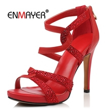 ENMAYER  Genuine Leather Basic Casual Women High Heel Sandals Zip Zapatos De Mujer Womans Shoes Size 34-39 LY748