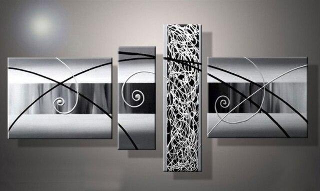 Étiré contemporain simple noir blanc gris abstrait peinture à l