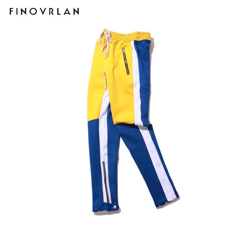 2018 Long Pant Tight Men Sweatpant Slim Fit Color Patchwork Men Hip Hop Side Striped Jogger Pant Streetwear Casual Zipper Pocket