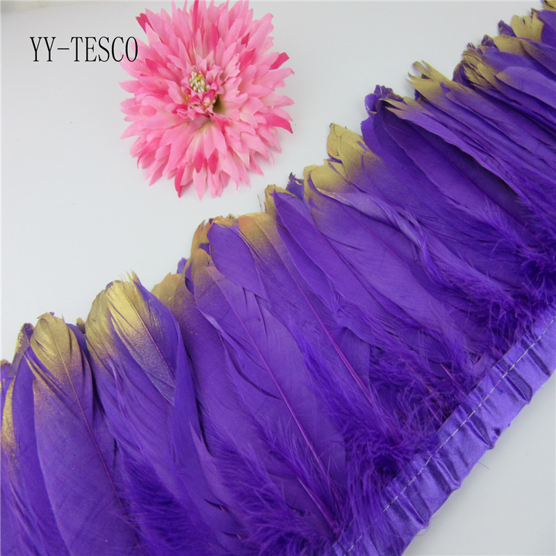 Fashion Gold Tips Goose feather trims 2-10yards purple Dyed geese feather ribbons /15-20cm Duck feather fringes Free shipping