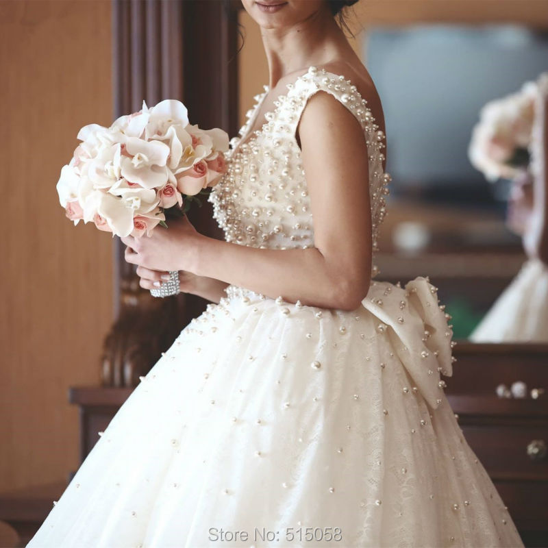 Ivory Lace Bow Back Royal Style Pearl Wedding Dresses Ball Gowns ...