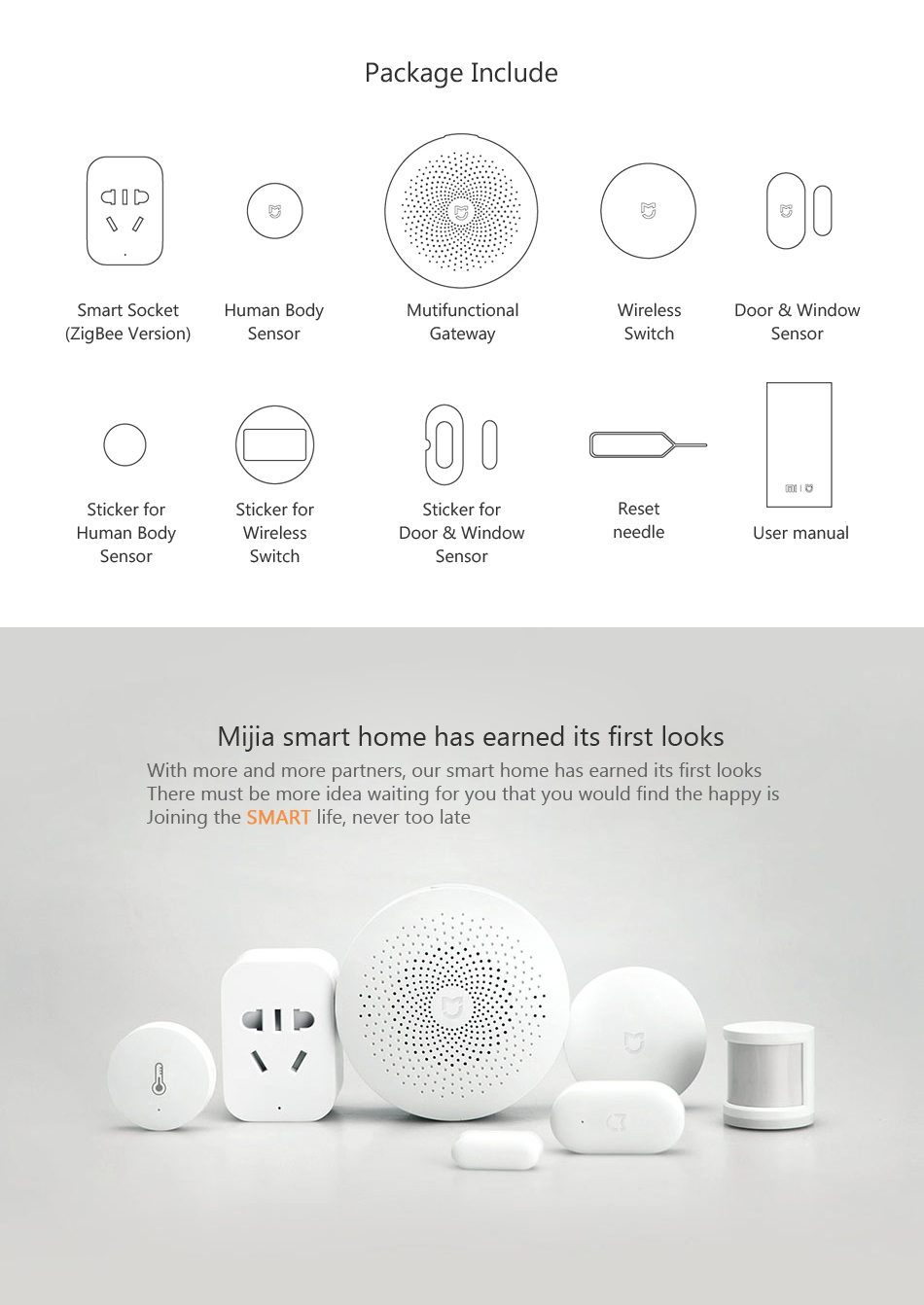 Xiaomi Mijia 5-In-1 Smart Home Aqara Security Set Wireless Switch Sensor Gateway