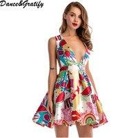 New 2018 Summer Women Deep V neck Print Sexy Club Party Dress Sleeveless Slim Mini Dresses