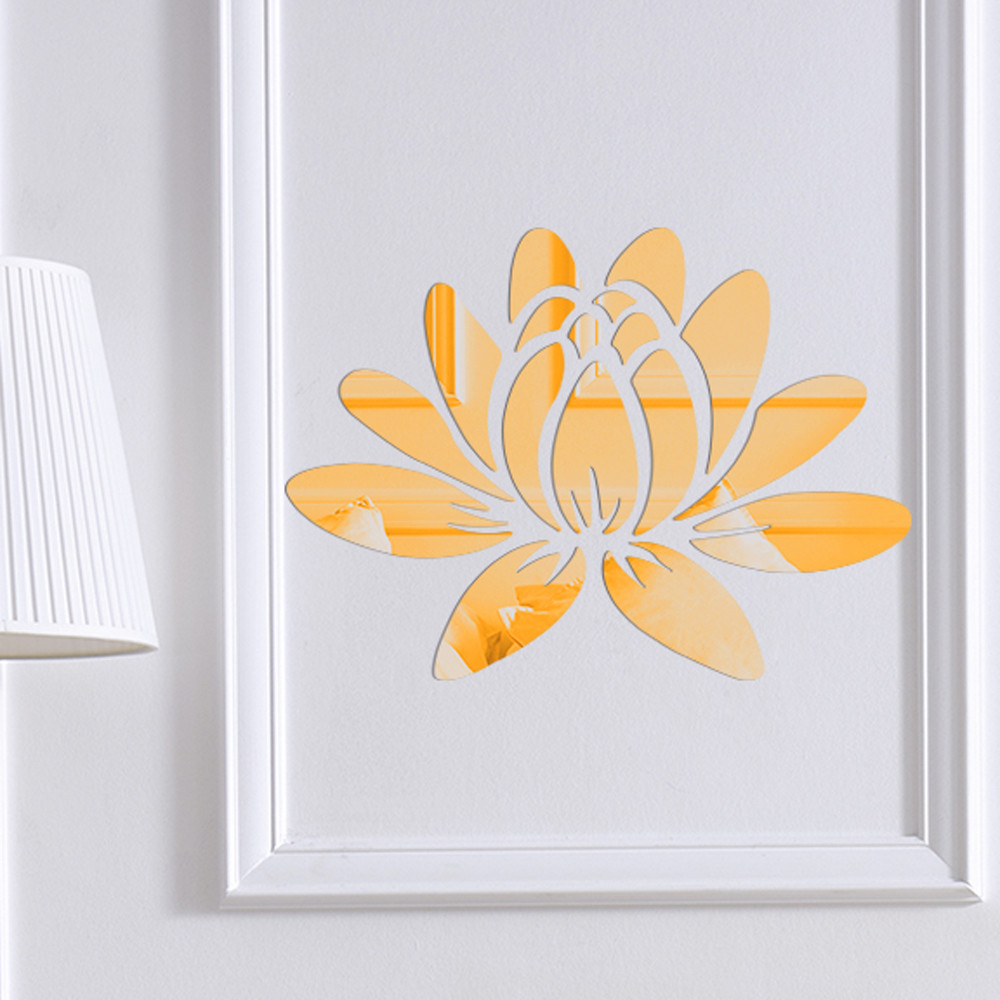 New Modern Mirror Style Removable Elegant Lotus Flower Acrylic