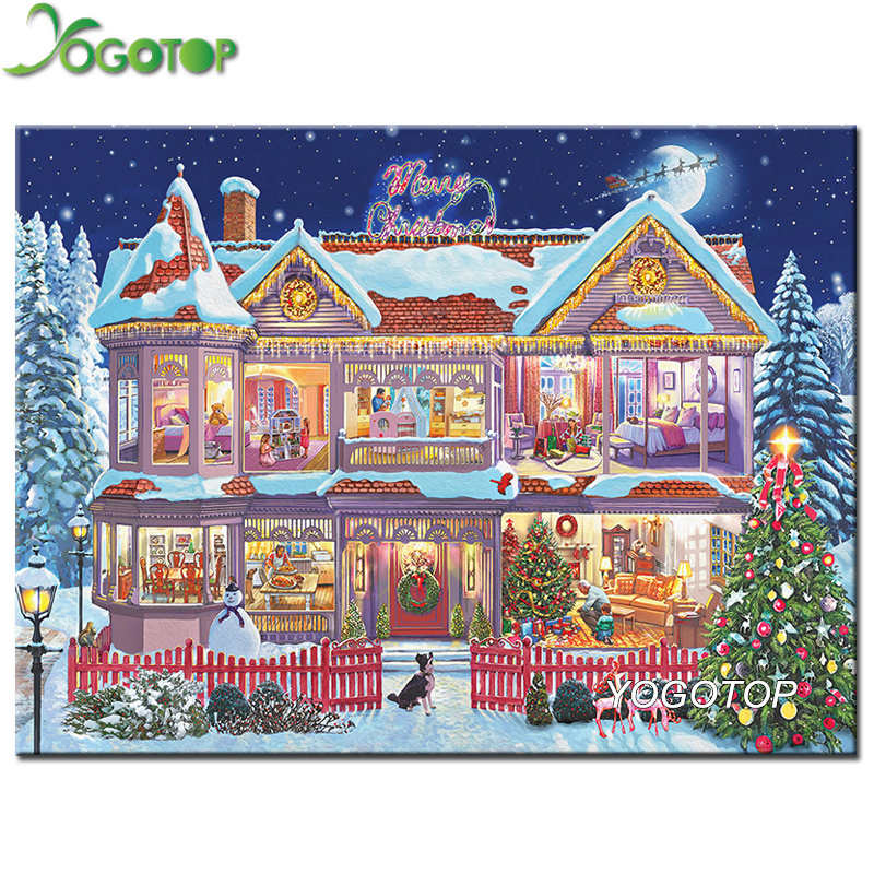 YOGOTOP DIY Diamond Painting Cross Stitch 5D Diamond Mosaic Needlework Crafts Full Diamond Embroidery Christmas Snow House ZB983