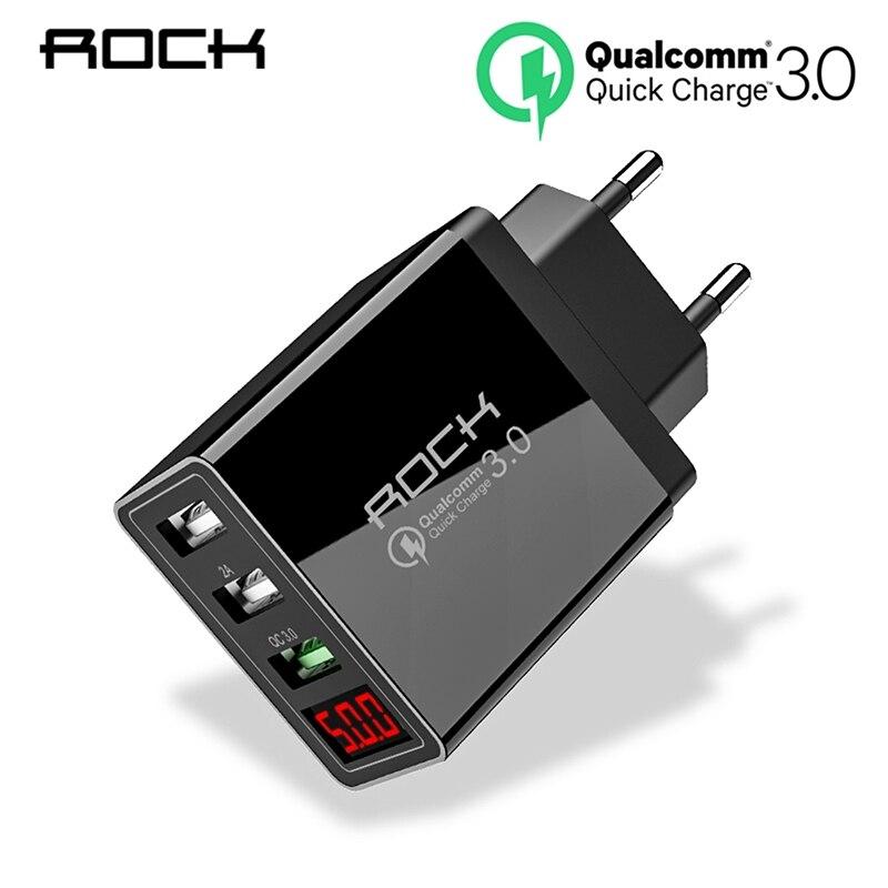 ROCK 30W QC3.0 Quick Charge 3.0 USB Carregador de Telefone Led Exposição da Luz QC Turbo Carregamento Rápido Para iPhone Xiao mi mi 9 Huawei P30 Pro