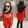 Осень Весна Зима Новый Свитер Корейской Моды Утолщенной Длинный Пуловер Футболка Дети Одежда Orange Письма Печать