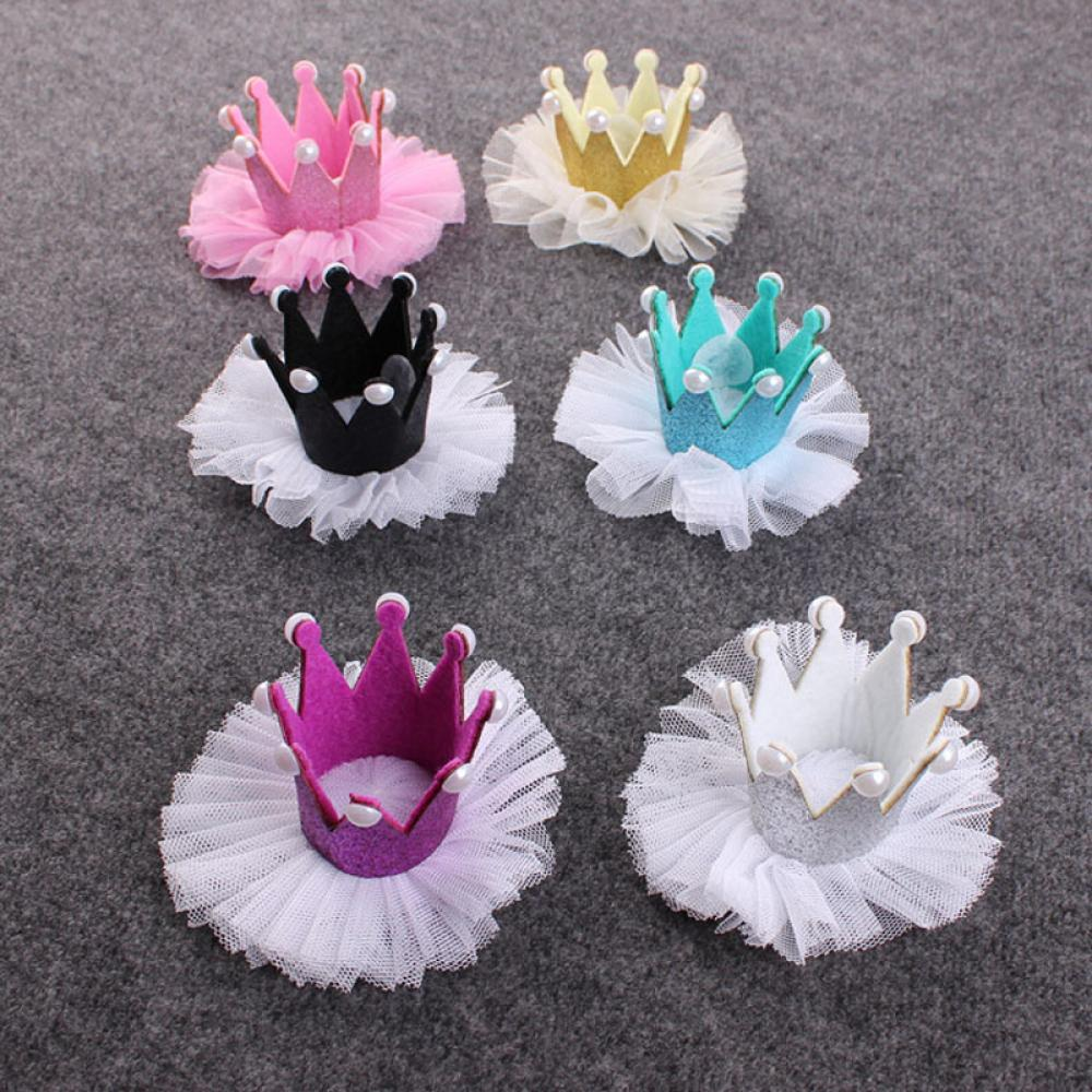 1PC Cute Kids Girls Lace Crown Pearl Princess Hairpin Hair Clip Headdress Barrettes Birthday Christmas Hair Accessories halloween party zombie skull skeleton hand bone claw hairpin punk hair clip for women girl hair accessories headwear 1 pcs