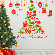 Merry Christmas Tree Bells Wall Stickers Home Decor Living Room Store Window Cartoon PVC Wall Decals Art New Year Poster Gift christmas tree wall stickers living room bedroom store christmas decor wall decals new year window gift home decor mural poster