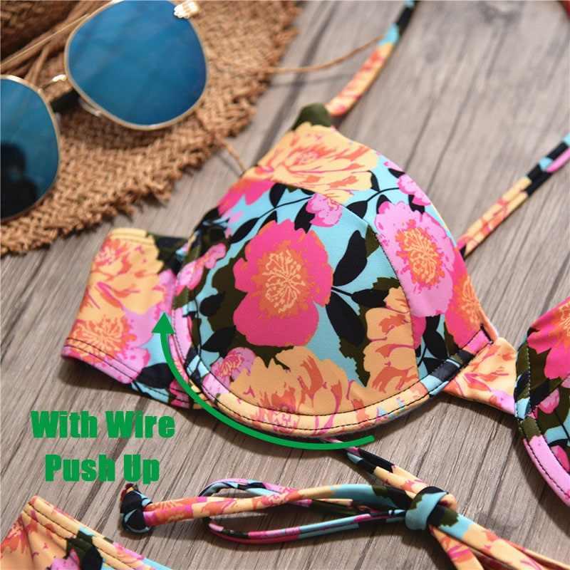 Для женщин комплект бикини Sexy Back бикини с цветочным узором лифчик топ + Низ с высокой талией летний купальник купальный костюм 2019