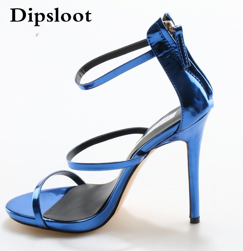 цена на Summer Ladies Concise Solid Shiny Leather Straps Stiletto High Heels Sandals Women Sexy Gracile Strappy Party Dress Shoes EU 45