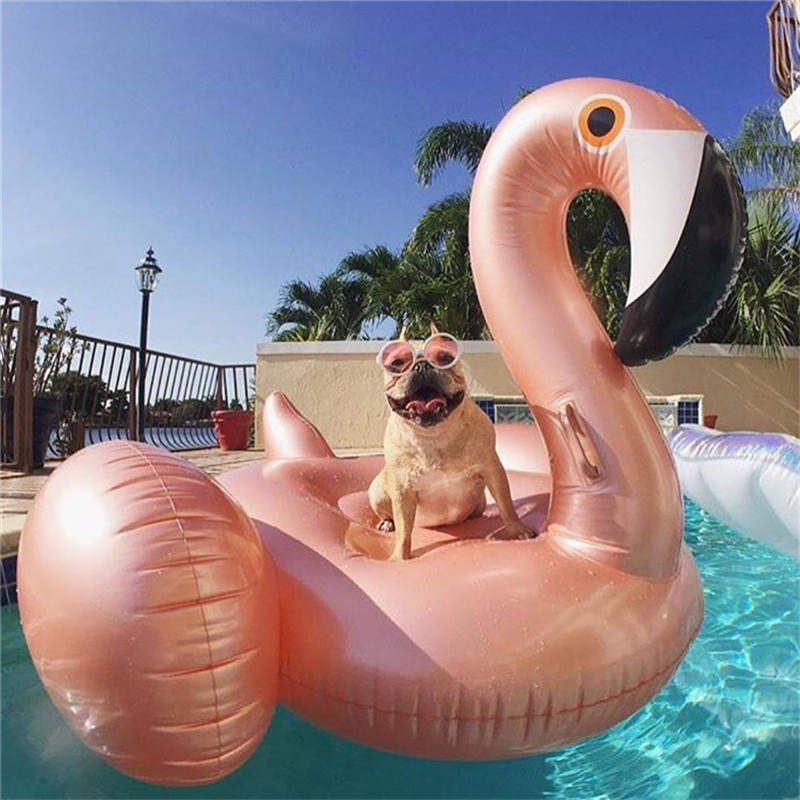 150cm Giant Inflatable rose gold flamingo Pool Float row Ride-On Swimming Ring Water Holiday Party Toys Piscina swimming laps