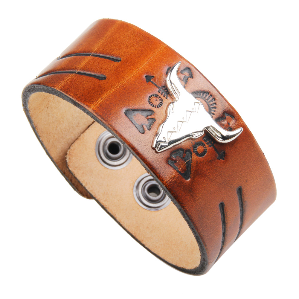 Pulseira Masculina Boys Bracelets & Bangles Street Snap Cow Leather Temperament Wide Bracelet Small Commodity Wholesale