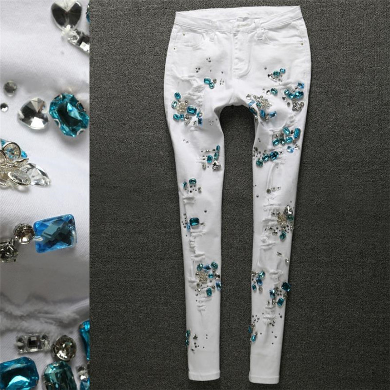 Taille 25-31 Denim femmes Skinny Jeans avec perles pantalon Slim Femme perles perles Jeans Femme 2019 crayon jean