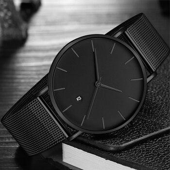 Preto Relógio de Quartzo Dos Homens Relógios Masculino Moda Casual Relógio de Pulso Para Homens de Aço Inoxidável Relógio de Pulso Relógio Horas Presentes Homens Hodinky