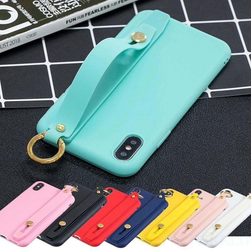 Candy Color Soft TPU <font><b>Case</b></font> For <font><b>Huawei</b></font> Y6 <font><b>Y7</b></font> Y9 P Smart Z <font><b>2019</b></font> Plus Honor 7C 7A 8X 8C 10 lite Wrist Strap Holder Phone Back Cover image