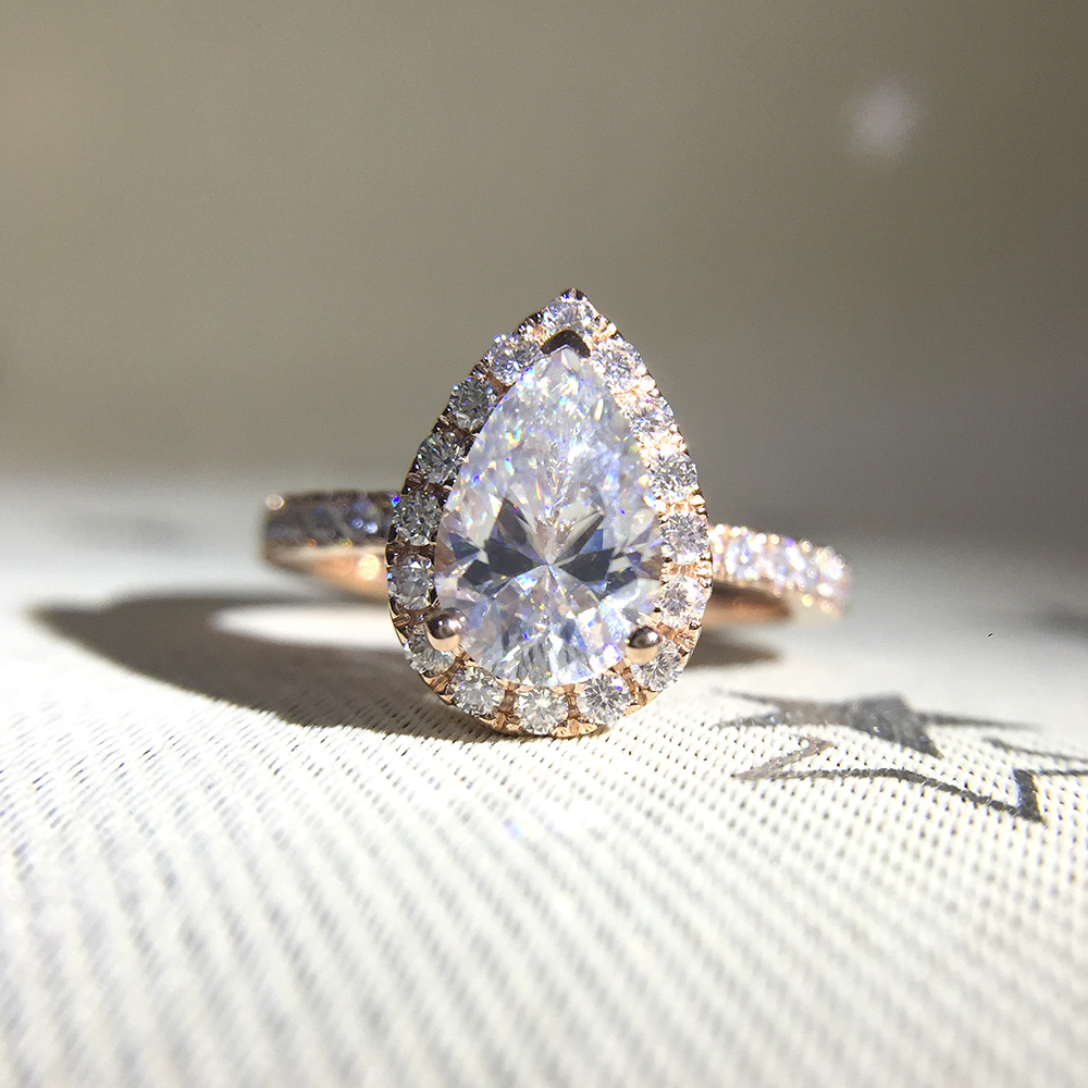 1 5ct 9x6mm Pear Cut Moissanite Halo Engagement Ring