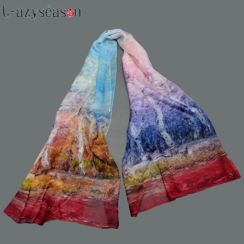 2018 New 100% Pure Silk   Scarf   Women Fashion Bandana Long Print Silk   Scarves     wraps   high-quality organza lady elegant hijab