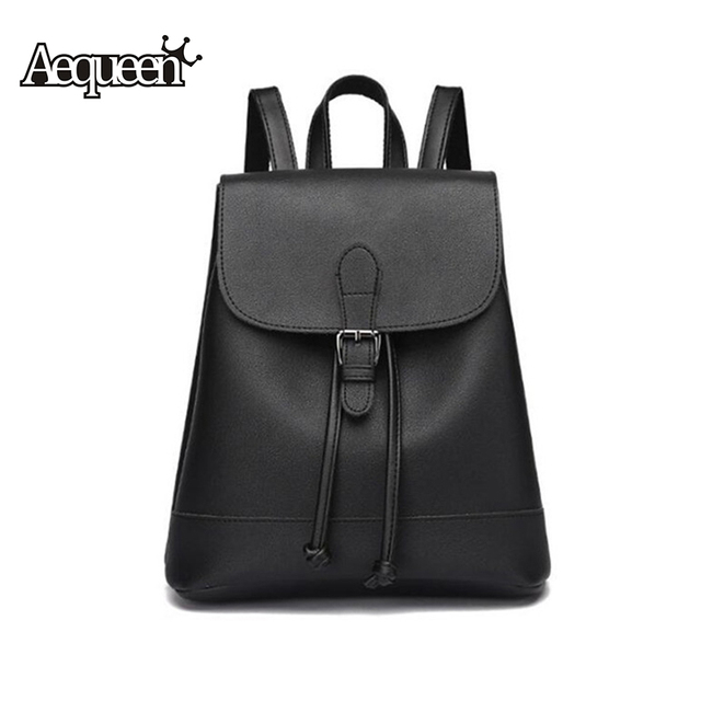b7920ad98 AEQUEEN PU Leather Backpack Minimalist Women Rucksack Solid Lady Shoulder  Bags College Bookbag Travel Daypack Girl