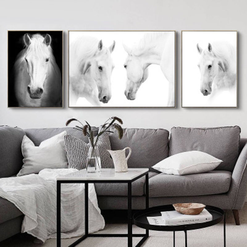 Animal Black White Horse Concise Calligraphy Painting