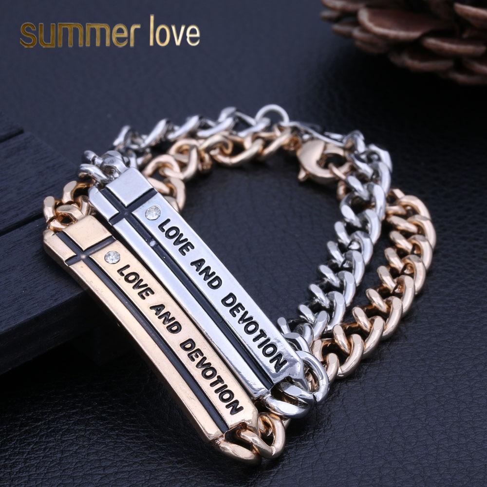 Retro Punk Love And Devotion Bracelet Lobster Buckle Cross Bracelets & Bangles For Women Men Dumpy Chain 2018 Fashion Jewelry