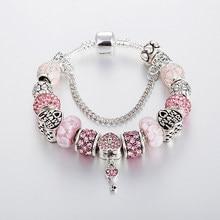 Annapaer marca fina chave pingente charme pulseira grânulos de cristal rosa pulseiras & pulseiras para presente feminino diy jóias b17122