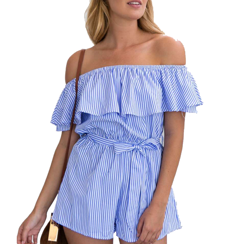 Summer Blue Short Pants Playsuit Off Shoulder Bodysuits Striped Beach Sexy Slim Waist Ruffles Sashes Jumpsuits Overall Coverall