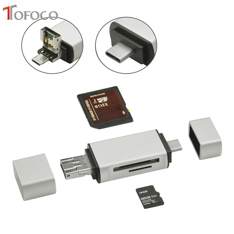 TOFOCO All in One Card Reader USB 3.1 Type-C To Micro USB 2.0 TF For SD Card Reader USB 3.0 Adapter For Tablet Laptops Computers computers in radiotherapy