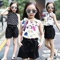 Chica ropa niños traje de moda grandes de la muchacha del verano gasa chaleco arnés + 5 minutos de pantalones de traje de dos piezas conjuntos cortocircuitos de las muchachas