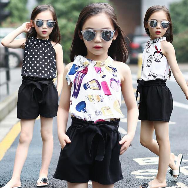 Menina roupas de verão crianças terno menina grande moda chiffon arnês colete + 5 minutos de calças two-piece conjuntos de roupa bermuda meninas