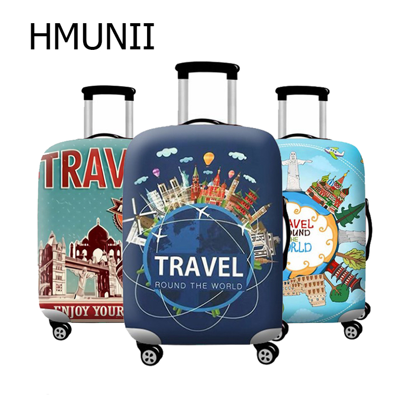 HMUNII Travel Accessories Elastic Luggage Dust Cover Travel Suitcase Protective Cover Luggage Case  Apply To 18''-32'' Suitcase
