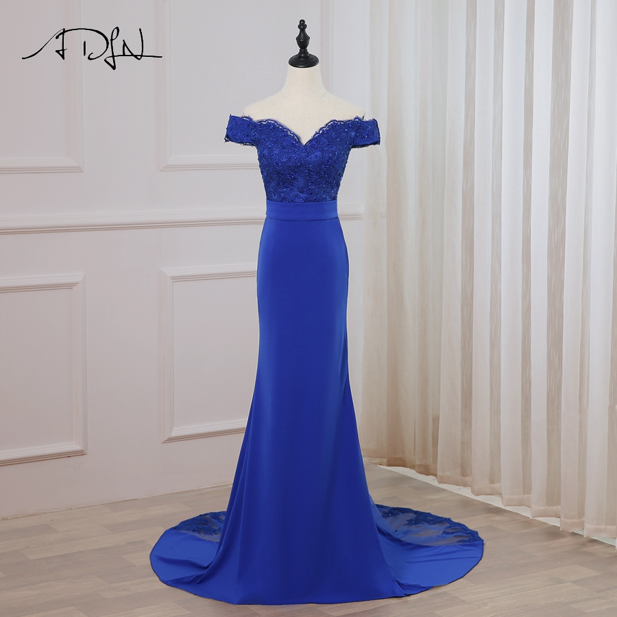 ADLN 2018 Sexy Royal Blue   Evening     Dress   Mermaid V-neck Sleeveless Applique Long   Evening   Party Gowns Robes De Soiree Prom   Dresses