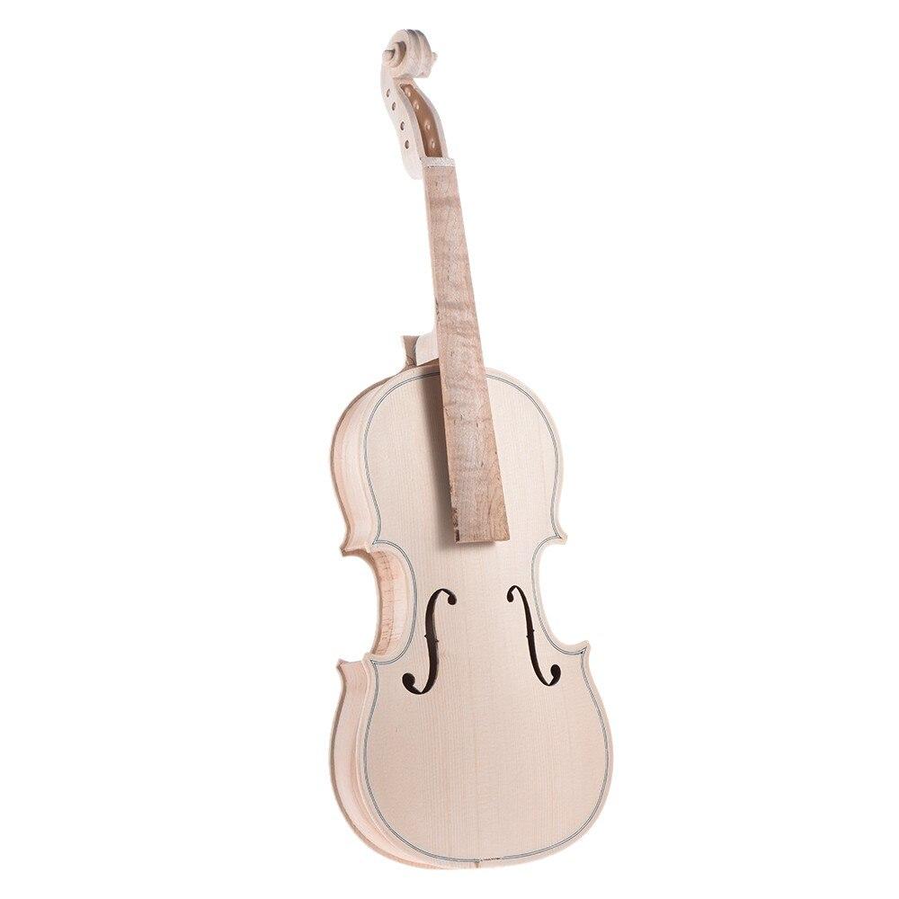 DIY 4/4 자연 솔리드 우드 바이올린 세트 메이플 백 넥 핑거 보드