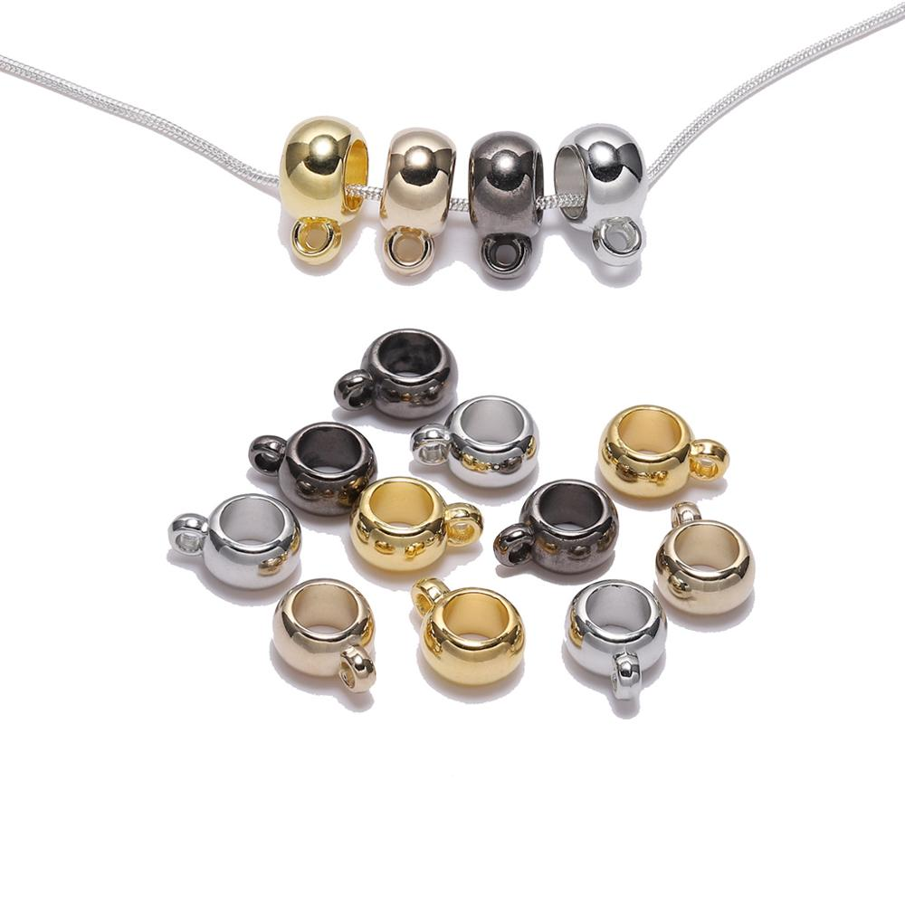 50Pcs/lot Pendant Clip Clasps Bail Hooks Gold Silver CCB Big Hole Bead Spacer Loose Beads Connector For Jewelry Making Supplies