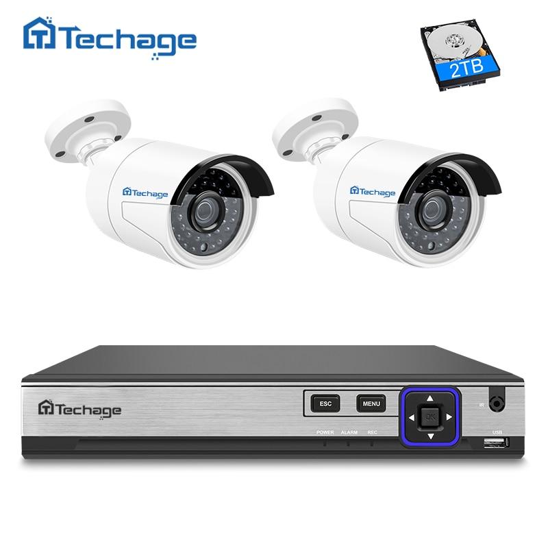 Techage H.265 4MP POE CCTV System 4CH NVR Kit 2PCS Hi3516D OV4689 IP Camera IR Night Vision Outdoor Security Surveillance System