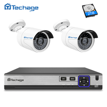 Techage H.265 4MP POE CCTV System 4CH POE NVR Kit 2PCS Hi3516D OV4689 IP Camera IR Night Vision Outdoor Video Security Set