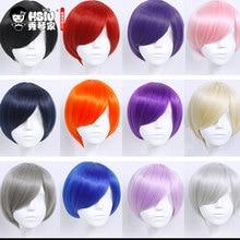 HSIU 30 cm kısa Peruk Siyah beyaz mor mavi kırmızı sarı yüksek sıcaklık fiber Sentetik Peruk Kostüm Partisi Cosplay Peruk 20 renk