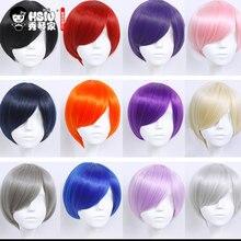 HSIU короткий парик 30 см, черный, белый, фиолетовый, синий, красный, желтый, высокая температура, синтетические парики, вечерние парики для косплея, 20 цветов