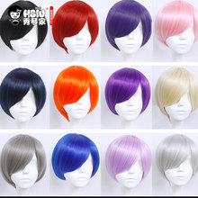 HSIU 30cm short Wig Black white purple blue red yellow high temperature fiber Synthetic Wigs Costume Party Cosplay Wig  20 color