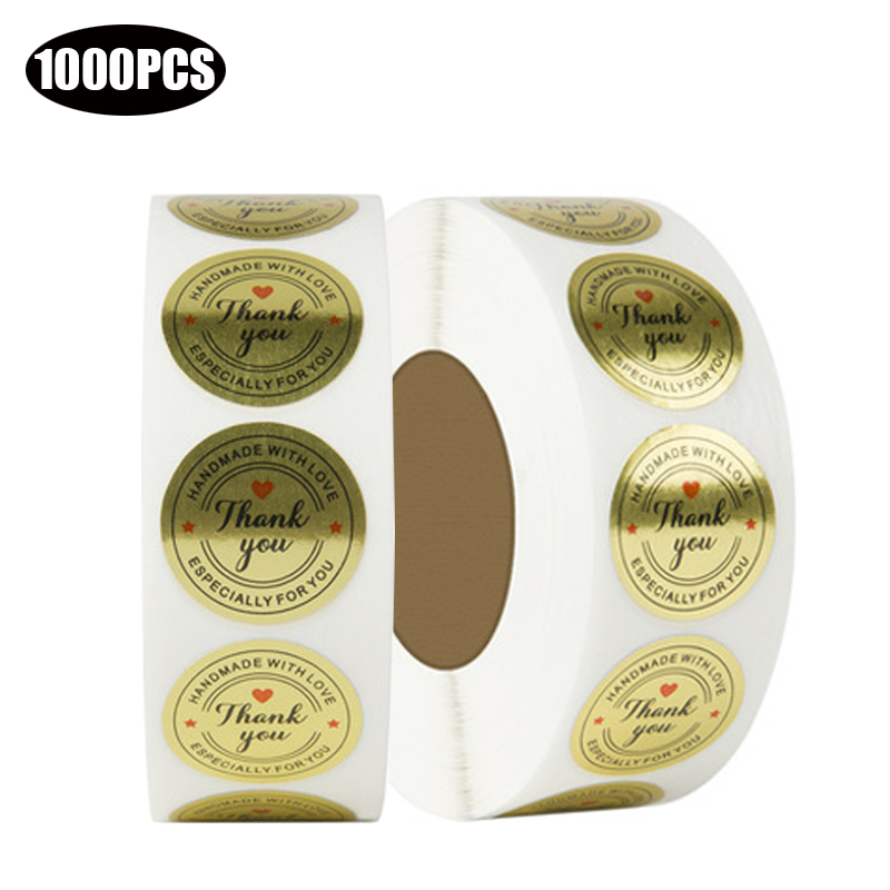 1000PCS Golden thank you for your puchase stickers 1 inch Round Wedding decoration Gifts Packging Seal Labels Envelope Craft