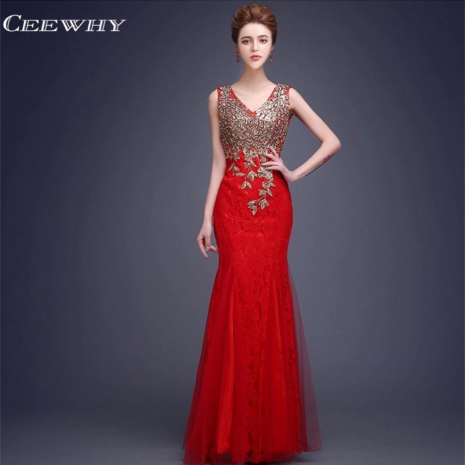 CEEWHY V-Halsbroderi Robe De Soiree Lace Aftonklänningar Lång - Särskilda tillfällen klänningar - Foto 5