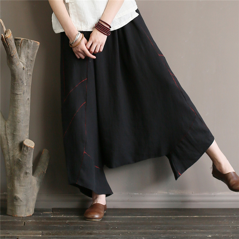 Summer Cropped Harem   Pants   Women Embroidery Loose   Wide     Leg     Pants   Women Pleasted With Pockets Elastic Waist Black Casual Capris