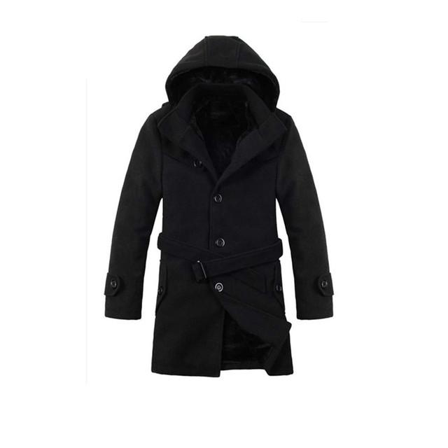 Modo más tamaño fresco homme 2016 gabardina de lana de los hombres de lana gimnasio caliente mens largo abrigo del envío gratis