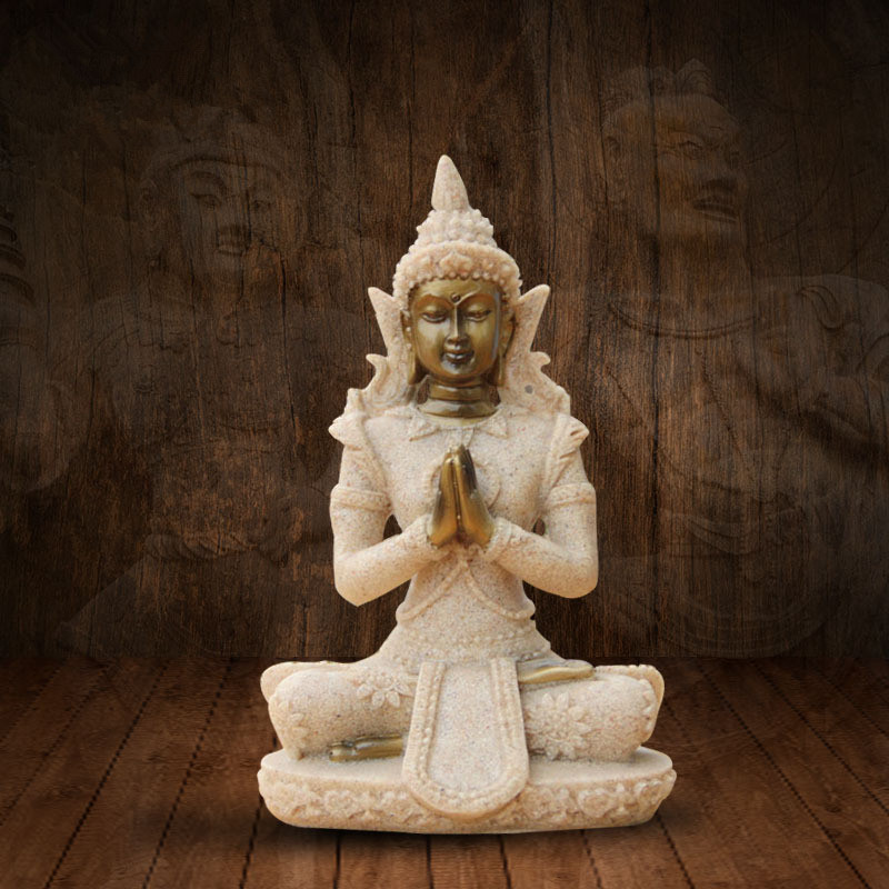 Hot Style Meditation Zen Buddha Natural Sandstone Crafts Resin Sitting Buddha Figurine Exquisite and Fascinating Home Decoration