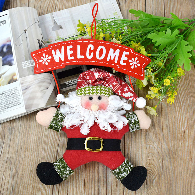 welcome hanging christmas santa claus decor door wall hanging ornaments diy - Christmas Wall Hanging Decorations