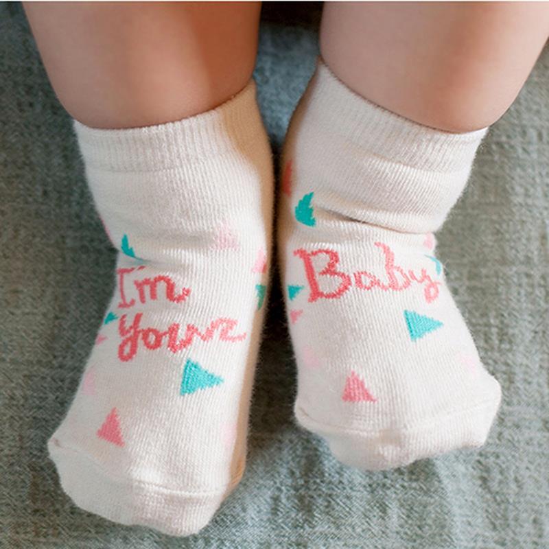 Newest Baby Kids Cute Words Pattern Socks Cotton Blend Soft Warm Socks 0-4T
