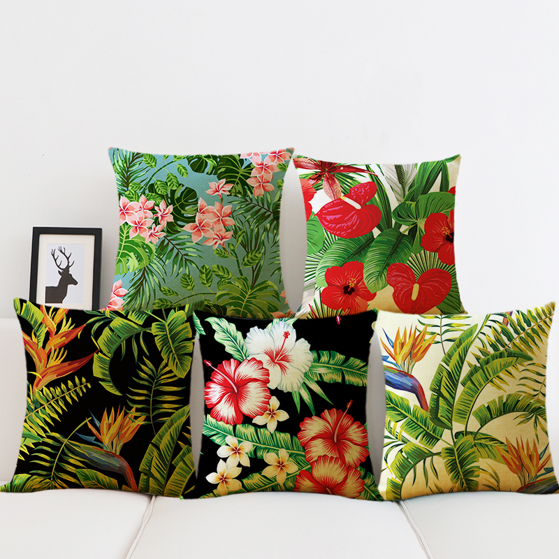Tropical Plants Cushion Cover Green Leaves Cushion Covers Flowers Pillows Decorative cotton Linen Pillow Case home sofa decor